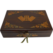 SALE Exquisite Antique English Marquetry Inlaid Playing Card Box c.1840