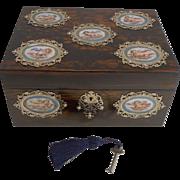 SALE Grandest Antique English Coromandel Jewelry Box - Hand Painted Cherub Porcelain Plaques c