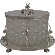 SALE Top Quality Antqiue English Cut Crystal and Silver Plated Biscuit Box c.1890 - Dolphins