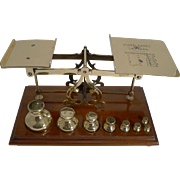 Large Antique English Mahogany and Brass Postal Scales Fabulous Waisted Dump Weights c.1900