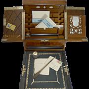 SALE Top-Notch Antique English Walnut Stationery Cabinet / Writing Box c.1880