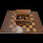 SALE Oversized Games Box - Backgammon, Chess, Checkers c.1890