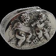 SALE Adorable Antique Sterling Silver Pill Box - Musical Cherubs - 1904