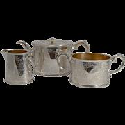 SALE English Edwardian Fern Engraved Tea Set c.1910