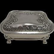 SALE Pretty Antique English Sterling Silver Jewelry Box - 1902