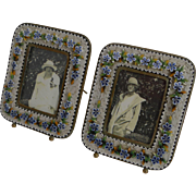 SALE Superb Small Pair Antique Venetian Micro-Mosaic Photograph Frames c.1900