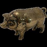 SALE Rare Antique Cast Brass / Polished Bronze Novelty Mechanical Desk Bell - Pig c.1890