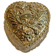 SALE Large Antique Cut Crystal and Sterling Silver Heart Shaped Box - 1903