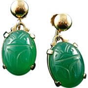 SOLD 14K Gold Chrysoprase Scarab Screw Back Earrings