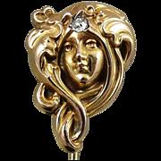Antique 10K Gold Art Nouveau Lady Stick Pin