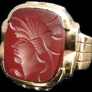 Art Deco 10K Gold Carnelian Intaglio Cameo Ring - Unisex