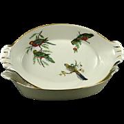 Set of 2 Vintage Pillivuyt Porcelain Au gratin Dishes with Birds - France