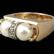 Retro 14K Gold Pearl & Diamond Ring