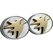 English 18CT 18K Gold & Sterling Bird Cufflinks - London