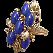 14K Rose Gold Lapis Mid-Century Modern ring