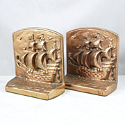 Vintage Pirate Ship Bookends - Heavy