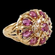 14K Gold Franklin Mint Ruby and Diamond Princess Crown Ring, Nine Heavens