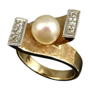 14K Gold Retro Cultured Pearl & Diamond Ring