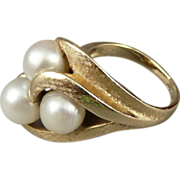14K Gold Asymmetrical Cultured Pearl Ring