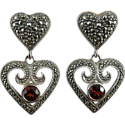 Vintage Judith Jack Sterling Garnet & Marcasite Heart Earrings