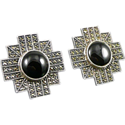 Vintage Judith Jack Sterling Onyx & Marcasite Earrings