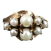 10K Gold Cultured Pearl Cluster Ring