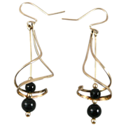10K Gold & Black Onyx Bead Spiral Earrings