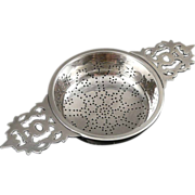 Sterling Silver Double Handled Tea Strainer by Currier & Roby