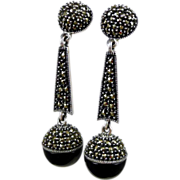 Vintage Judith Jack Sterling Onyx & Marcasite Dangle Earrings