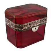 REDUCED French Cranberry Glass Jewelry Casket / Box