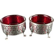 Pair Of Gorham Sterling & Cranberry Glass Footed Master Salts