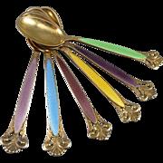 Set of 6 Thorvald Marthinsen Sterling & Enamel Demitasse Spoons - Norway