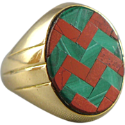 SALE Vintage Unique 14K Gold Agate Inlay Ring - Unisex