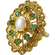 14K Gold Opal & Emerald Cocktail Ring