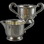 Sterling Silver Sugar & Creamer Set by Mueck-Carey - Mid-Century