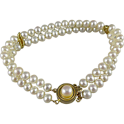 14K Gold Double Strand Cultured Pearl Bracelet
