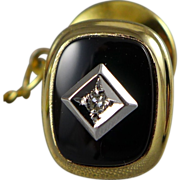 14K Gold Onyx Tie Tack with Diamond Accent
