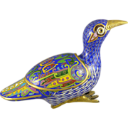 SOLD Vintage Chinese Cloisonne Bird Trinket Box