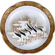 Kutani Hand Painted Bowl by Taniguchi of Cranes - Late Meiji to Taisho Period