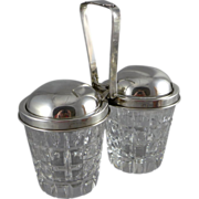 Vintage Sterling Silver & Cut Crystal Double Condiment Jars