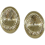14K Gold Diamond Cut Oval Earrings