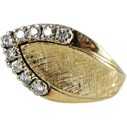 14K Gold & Diamond Retro Ring