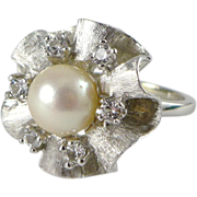 10K White Gold Cultured Pearl Cocktail Ring - Mad Men Era