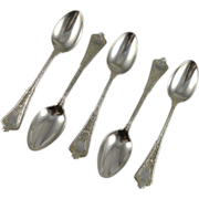 SALE Set of Five Antique Tiffany Sterling Teaspoons Persian Pattern c. 1872