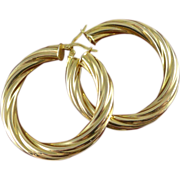 Vintage 14K Large Twist Hoop Earrings - Italy