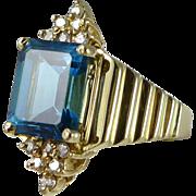 14K Blue Topaz & Diamond Ring