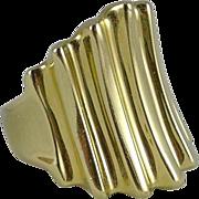 Heavy 14K Gold Ribbed Cigar Band Ring