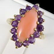 Vintage 14K Gold Coral & Amethyst Ring