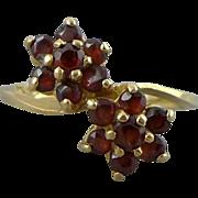 14K Gold Garnet Flower Ring