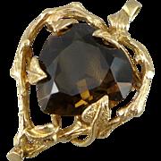 14K Gold Heart Shaped Smoky Quartz Pendant / Brooch